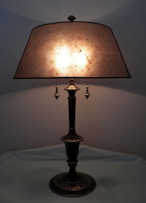 1930's 1940's polychrome lamp and mica shade